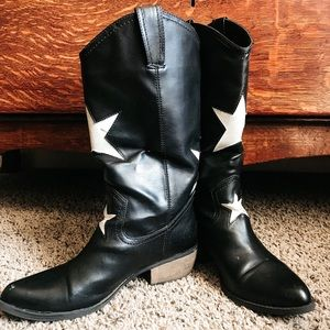 Black cowboy style boots with white stars